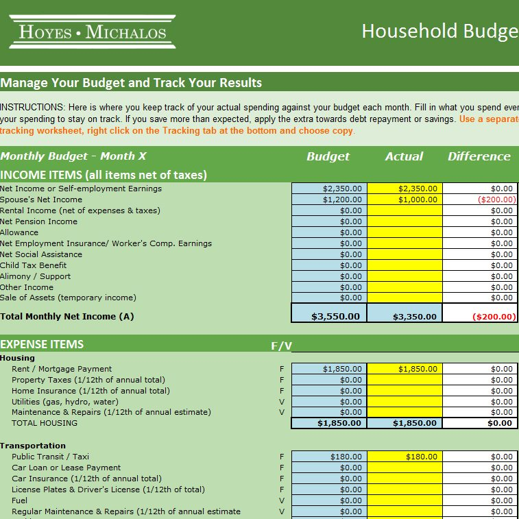 Free Budgeting Workbook