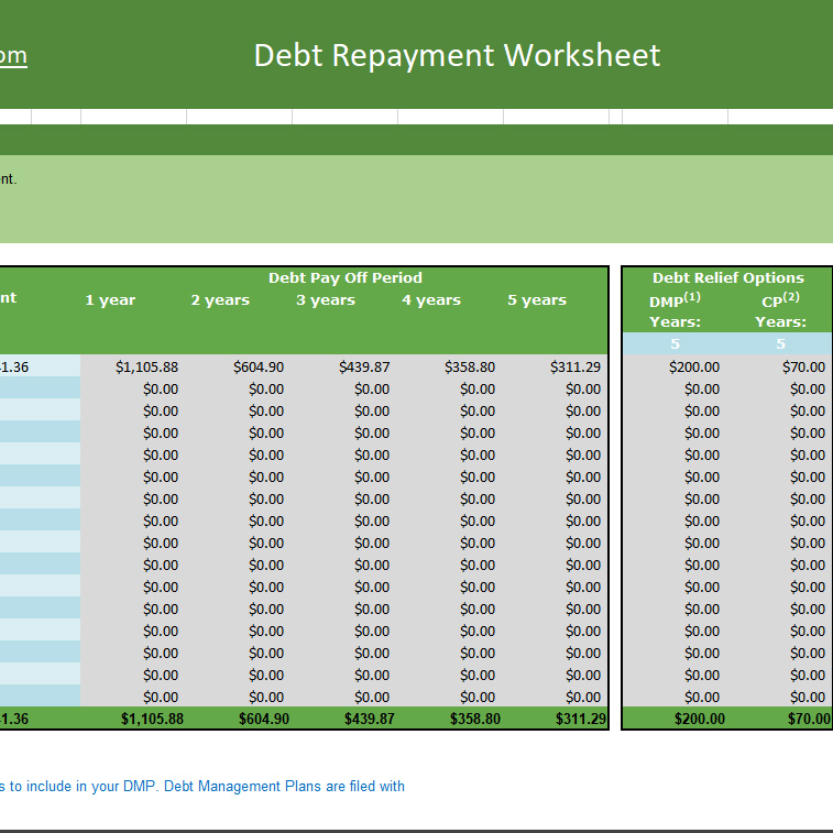 Debt Repayment Worksheet