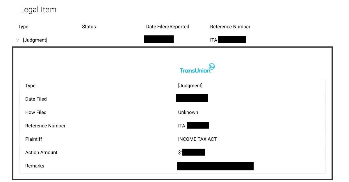 CRA Credit Report Example 1