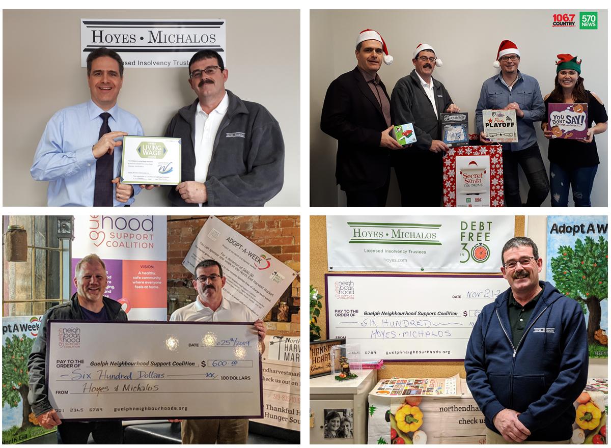 Doug Hoyes and Ted Michalos donating to various organizations