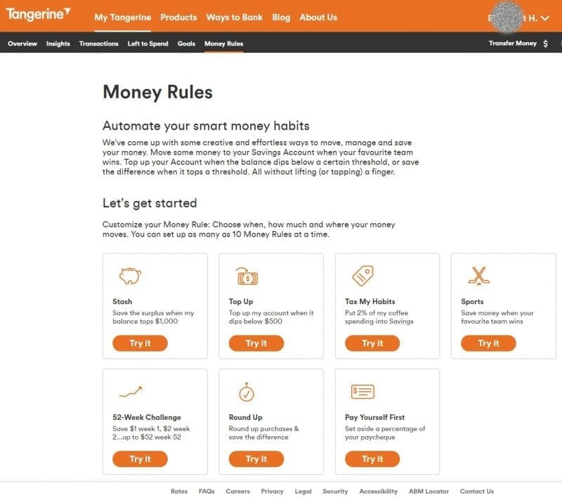 The Money Rules page on Tangerine's website