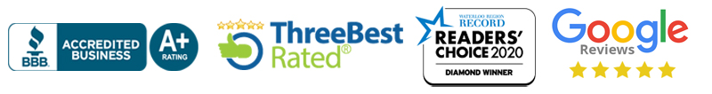 Reviews and Awards Better Business Bureau, Three Best Rated, Readers Choice, Google Reviews
